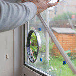 cat flap installation in glass